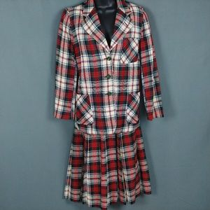 Plaid Wool Suit S/M Skirt and Blazer Pleated